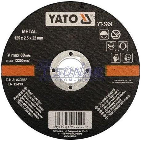 YT-5924 TARCZA DO CIECIA METALU 125X2,5X22