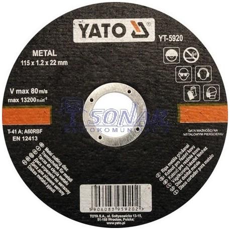 yt-5920 tarcza do cięcia METALU 115X1,2X22